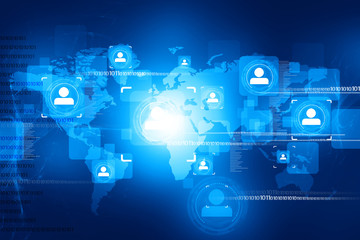 abstract global people connection on tech background .
