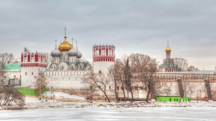Novodevichy Convent in winter - timelapse video