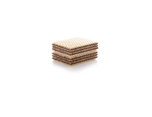 wafers with dark chocolate on white background