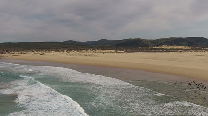 Aerial from Carrapateira beach in the Algarve Portugal