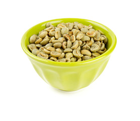 green coffee beans in bowl