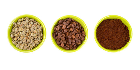 green, roasted and ground coffee