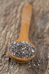 chia seeds in a wooden spoon