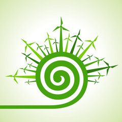 Ecology concept - wind mill with spiral design stock vector