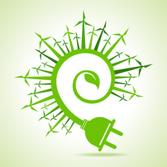 Ecology concept - Leaf and electric plug with wind mill