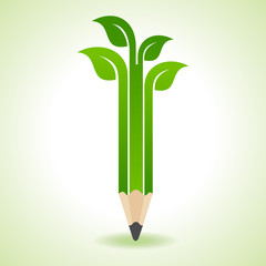 Ecology concept - Pencil with Leaf stock vector