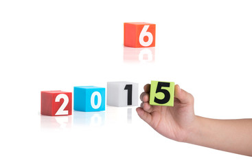 Colorful plastic of year numbers on a white background