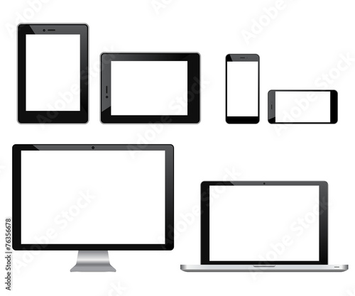 High quality set of modern technology devices poster