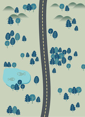 the forest and road map illustration