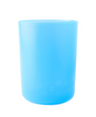 Blue plastic beaker cup isolated