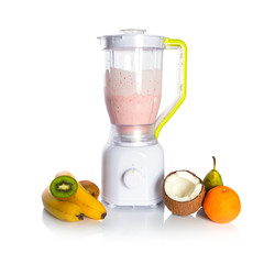 Mixed fruit in blender with fresh yoghurt