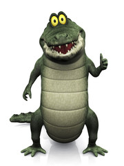 Cartoon crocodile doing a thumbs up.