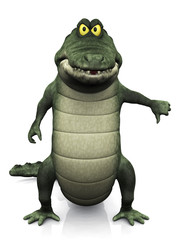 Cartoon crocodile doing a thumbs down.