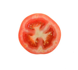Tomato sliced isolate on white