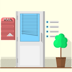 Flat vector illustration of office doors