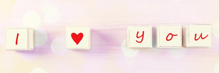 I love you spelled in wooden blocks