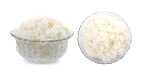 cooked rice on white