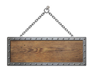wooden sign board with metal chain isolated