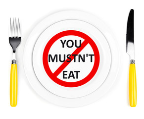 "Plate with text ""You mustn't eat"", fork and knife isolated"