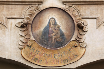 Madonna with Child. House sign at Mala Strana in Prague.