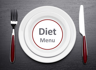 "Plate with text ""Diet Menu"", fork and knife"