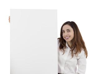 Woman showing a blank billboard