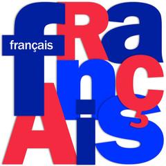 """Mosaïque de Lettres """"FRANCAIS"""" (langues traduction français)"""