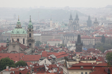 Saint Nicholas Church and Tyn Church in Prague, Czech Republic.