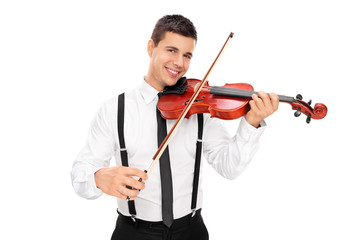 Cheerful male musician playing a violin