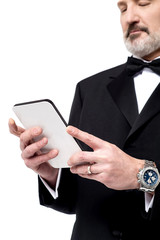 Man reading news on his tablet pc