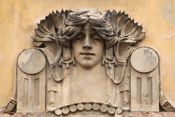 Mascaron on the Art Nouveau building in Prague.