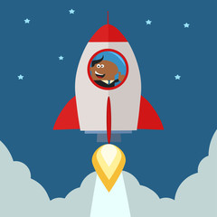 African American Manager Launching A Rocket To The Sky