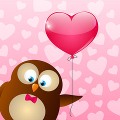 Valentines day card with cute owl