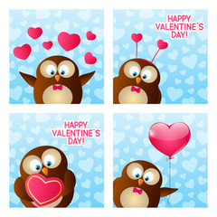 Valentines day cards with cute owl