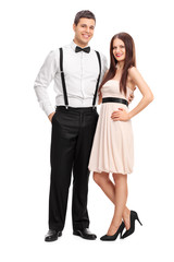 Full length portrait of a young fashionable couple