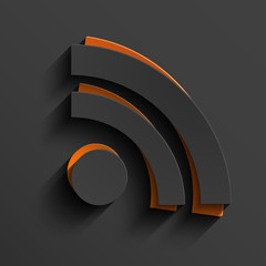 Vector modern RSS feed sign with shadow