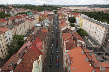 Vysehrad fortress from the Nusle Bridge in Prague, Czech Republi