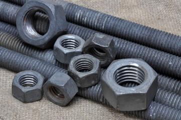 Metal tools screws and nuts