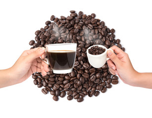 Cup of coffee and coffee beans on coffee beans background
