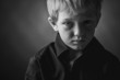 canvas print picture - Low Key Photo of Sad Boy
