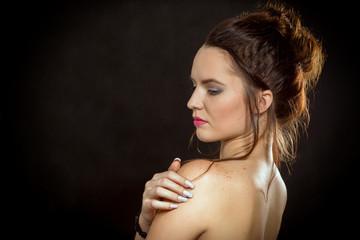 woman bare profile