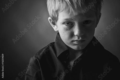 canvas print picture Low Key Photo of Sad Boy