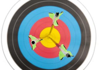 Three arrows in archery target