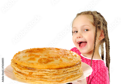 canvas print picture Happy little girl with tasty pancakes