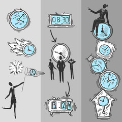Clock Banners Set