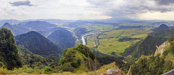 Panoramic photo of Pieniny Mountains, Poland