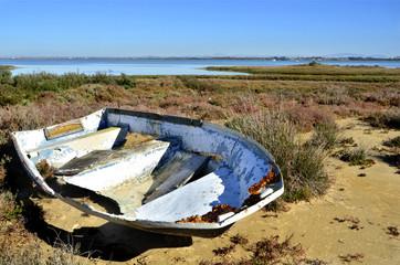 Barca abandonada en las marismas. Cádiz. España