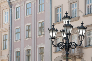 Street lamp in historic Old Town district, Lviv