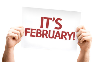 It's February card isolated on white background
