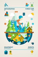 Colourful skier with mountains infographic